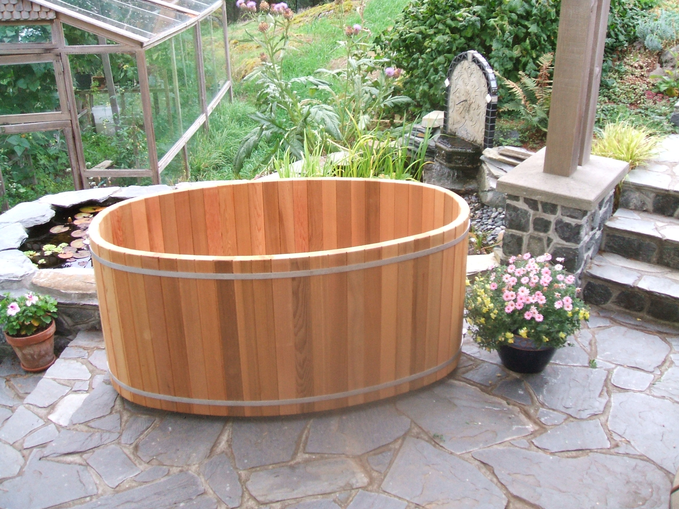 Wood barrel soaking tub price list forest lumber cooperage for Extra long soaking tub